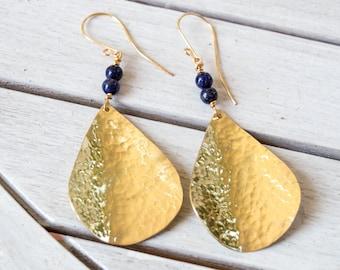Brass earrings lapis lazoyli ,Brass dangle earrings , Brass hammered earrings , Brass earrings ,Handmade Metal Jewelry, Gold metal earrings