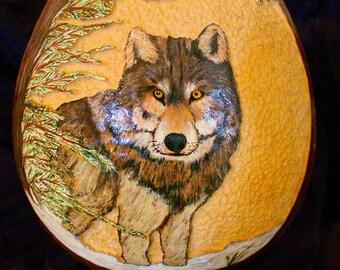 Handcarved & Handpainted Wolf Gourd