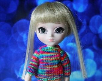 Sweater Little Pullip Dal Obitsu 11 colorful rainbow Tiny Button