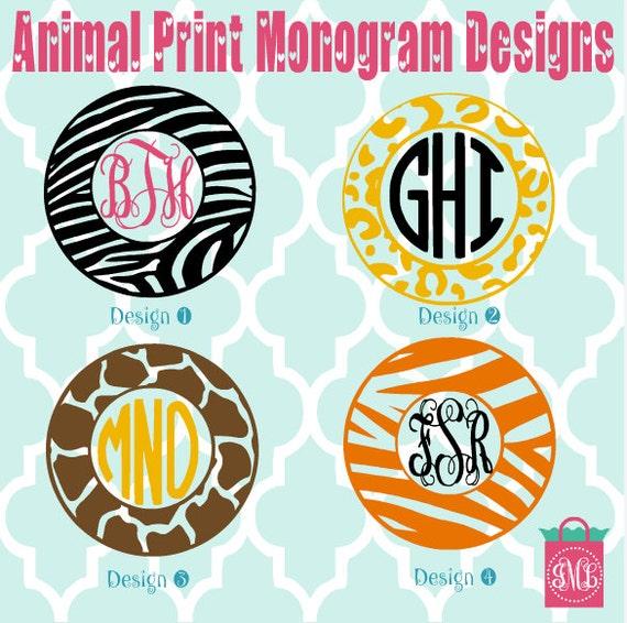 Monogrammed Animal Vinyl Decals Monogrammed Decals