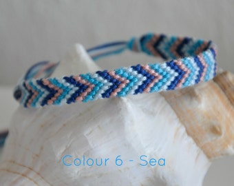 "Woven friendship bracelet/ anklet chevron arrow pattern Colour 6 ""Sea"" 