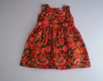 Girls dress ,  Clothing for girls,    size 1 year ,Red poppy dress, Toddler dress