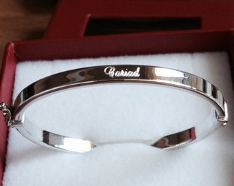 Baby Welsh CARIAD 925 Sterling Silver Hinged Bangle **FREE Engraving** Christening Gift