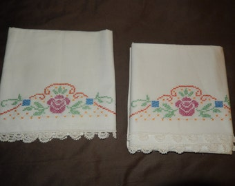 CROCHETED and CROSS STITCHED Pillowcases