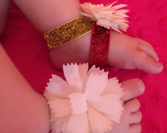 Team Colors Cheerleader Pom Pom style Infant Barefoot Sandals