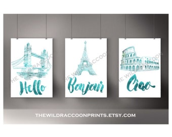 Travel Watercolor Art, London, Paris, Rome, Sketch, Hello Quotes, Wanderlust , Download Digital Art, Travel Quote, Dark Turquoise Set of 3