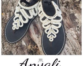 Beaded sandals elegant handmade black and white flip flops shoes summer beads