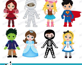 Kids Costume Party digital clipart / Cute Halloween costume kids Clip art / Personal and Commercial Use / Instant Download