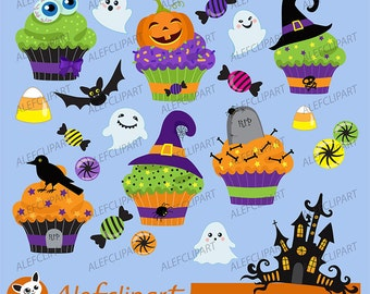 50% OFF SALE Halloween cupcake clipart  digital clip art.