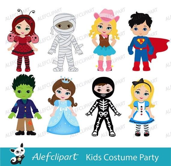 Kids Costume Party digital clipart / Cute Halloween costume
