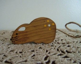 Primitive Mouse~Handmade~Wooden