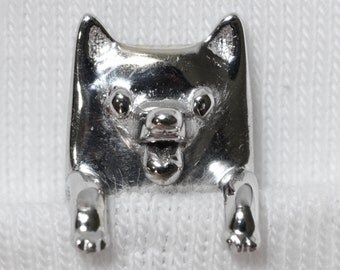 Little Cute Puppy Animal Brooch Rodium Plated Brass