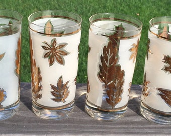 Mid Century Libbey Drinking Glasses / Vintage Glasses with Gold Painted Leaves/Atomic Glassware