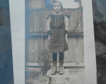 RPPC Post Card Young Girl Bow Dress