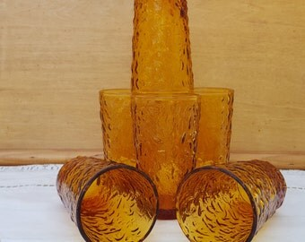 Set of 6 Vintage Milano Lido Amber Glass Juice Glasses