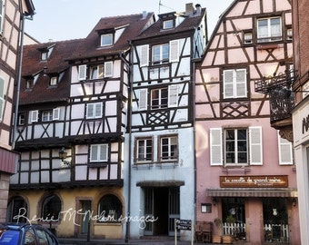 France photo,colorful buildings,pastel wall art, pink blue, French country decor, home decor, Colmar France, half timbered buildings, Alsace