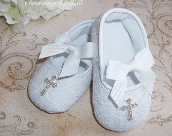 Christening Shoes - Baby Girl Christening Shoes - Baptism Shoes - White Eyelet Baby Shoes