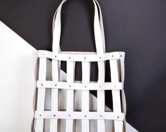SALE! 55% OFF Beach bag-Leather handbag-Summer bag-Holiday bag-Leather tote bag- White handbag