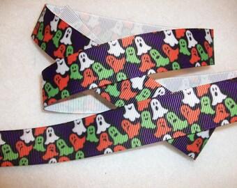 "SPECIAL SALE - 10Y for 4 Dollars -Halloween Ghosts 7/8"" Grosgrain Ribbon"