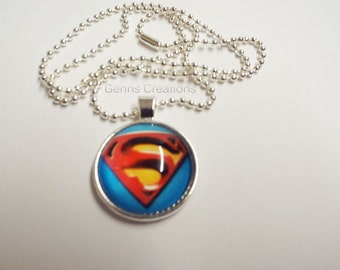 Inspired Superman Necklace, Glass Tile Necklace, Glass Tile Pendant, Inspired Superman Glass Pendant Necklace, Superman Ball Chain Necklace