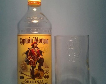 Captain Morgan ® Tall Pint Glass | Custom Hi Ball Drinking Bar Glass | Barware From Liquor Bottles | ( Set of 4 )