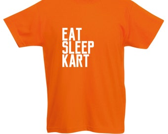 Kids 'Eat Sleep Kart' Karting T-Shirt / Childrens Go Kart T Shirt in Black, Blue, Orange, Pink, Yellow / Ages: 3-4, 5-6, 7-8, 9-11, 12-13