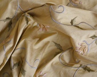 Embroidered Silk Fabric by the Yard - Gold with Vine Detailing - Drapery - Panels - Window Treatments - Pillows - Home Decor