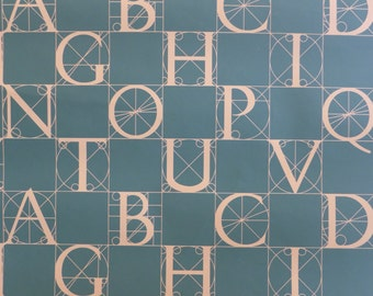 Motif Vintage Wallpaper Hunter Green Alphabet