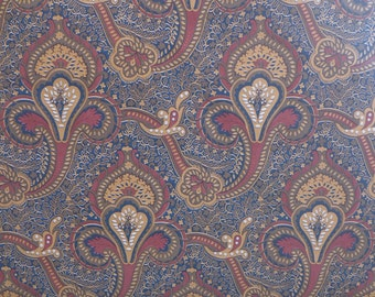 Motif Vintage Wallpaper Paisley Navy Burgundy and Gold Classic French