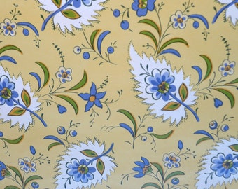 Motif Vintage Wallpaper French Country Floral Yellow & Blue