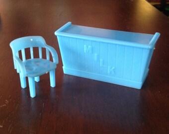 "Marx Rumpus Room Milk Bar & Captain's Chair-Vintage Dollhouse Furniture 1/2"" hard Plastic"