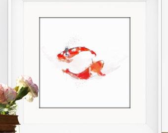 Koi Fish, Fine Art Watercolor