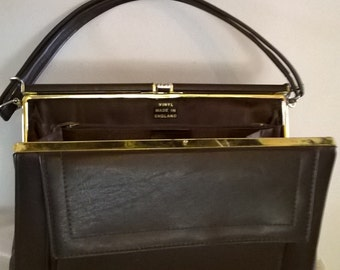 Vintage Brown Vinyl Lined Purse (1950's-1960's) Made in England