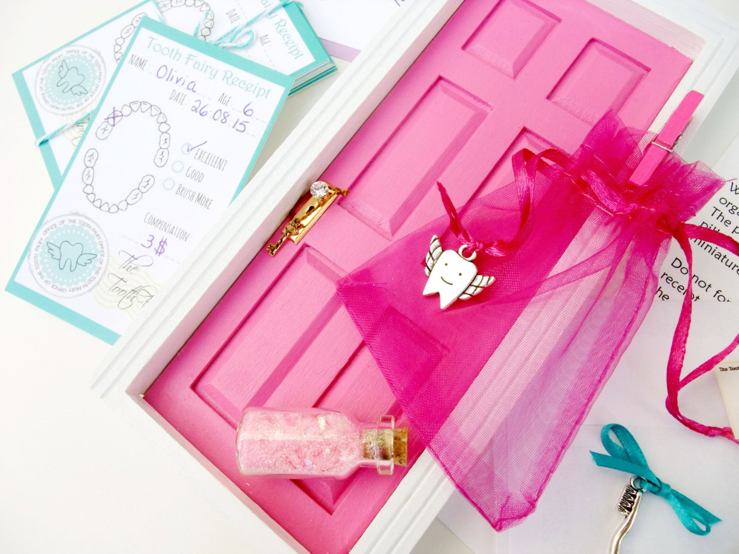 Tooth fairy door kit hot pink tooth fairy by portesbonheur for Pink fairy door