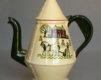 Metlox Poppytrail Homestead Provincial Coffee Pot with Lid Discontinued 1950-82