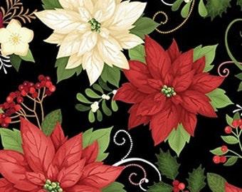 Elegant Poinsettias on Black - Christmas Holiday Winter by the Half Yard