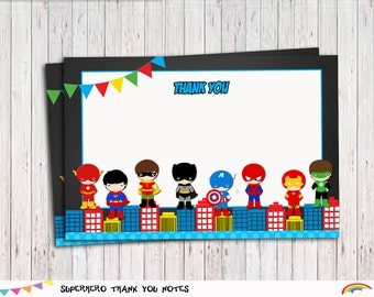 Superhero Thank You Notes 4x6 Blank Thank You Card, Blank Card Printable Instant Download, Thank you tags, Superhero party