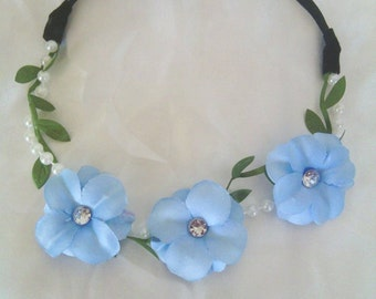 beautiful light blue flower headband