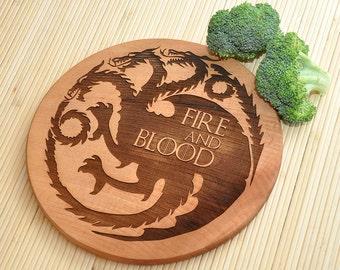 Game of Thrones Cutting Board, House Targaryen,Personalized Cutting Board, Cutting Board, Birthday Gift, Targaryen's dragon, Gift for Dad