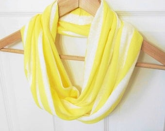 SALE! Yellow & White Striped Infinity Scarf, Cotton Knit Infinity Scarf, Lightweight Scarf, Circle Scarf, Loop Scarf, Wraps