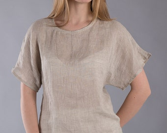 Linen Shirt  Loose  Linen Blouse    /  Gray Linen Blouse   /Washed Linen Flax Top / Ready to ship