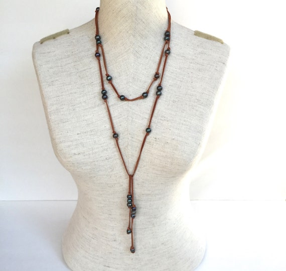 Tahitian Pearl And Leather Necklace: Items Similar To Pearl And Leather Lariat, Long Lariat