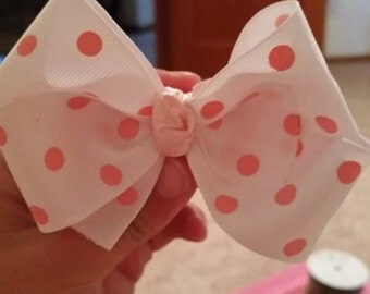 White with Pink Polka Dots Hair Bow