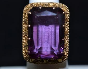 Intricate 18K Egyptian Alexandrite Ring