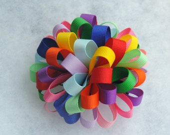 Daisy Girl Scout colors loopy poof bow