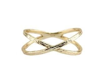 Cross, Anillo de oro X, criss cross anillo, anillo transversal x, x anillo