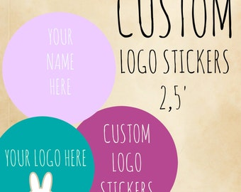 Custom logo sticker, personalized labels, product labels, 2,5 rounded custom labels,