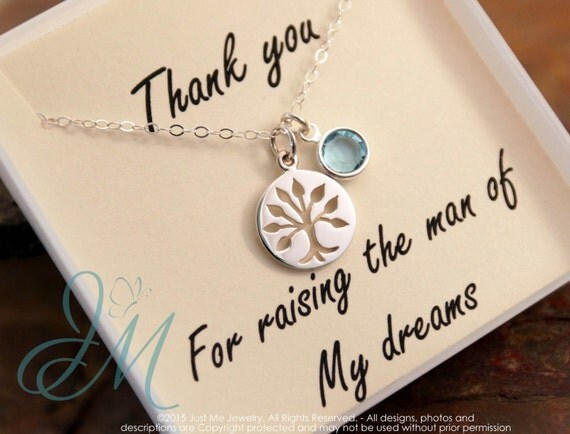 Mother of the groom necklace - Sterling Silver Necklace with family tree and Birthstone