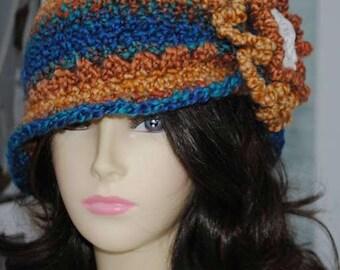 Handmade Crochet Cloche hat,  Bucket hat, Brown, Blue, Acrylic yarn, 24 inches round