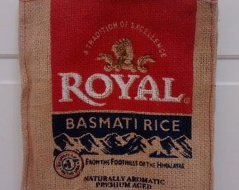 Mini Royal Rice Burlap Bag Tote with zipper and handle: great for repurposing, upcycling.